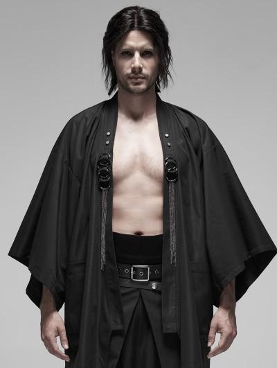 Punk Rave Black Gothic Punk Metal Warrior Japanese Coat for Men