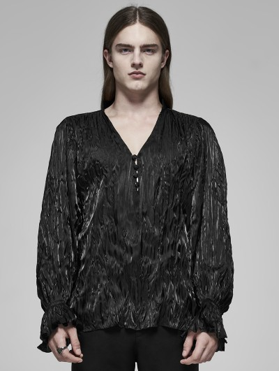 Punk Rave Black Gothic Pleated Long Sleeve Loose Shirt for Men