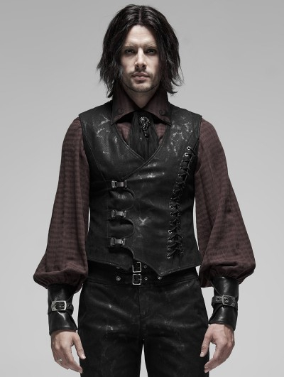 Punk Rave Black Gothic Steampunk Buckle Vest for Men