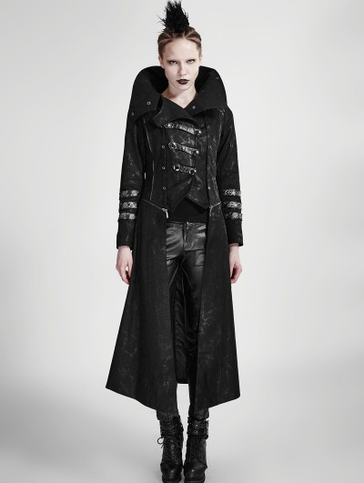 Punk Rave Black Long to Short Gothic Military Trench Coat for Women