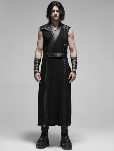 Punk Rave Black Gothic Punk Japanese Warrior Long Vest for Men