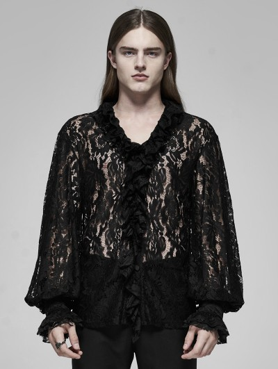 Punk Rave Black Retro Gothic Transparent Lace V-Neck Shirt for Men