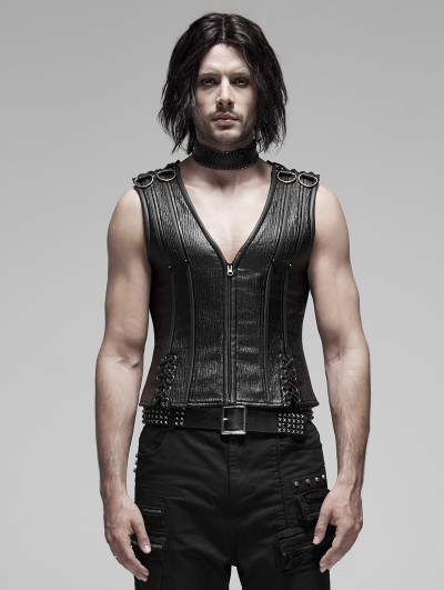 Punk Rave Black Gothic Punk Metal Vest Top for Men