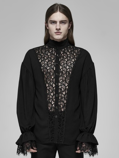 Punk Rave Black Vintage Gothic Rococo Transparent Lace Long Sleeve Shirt for Men