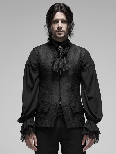 Punk Rave Black Vintage Gothic Rococo Jacquard Vest for Men