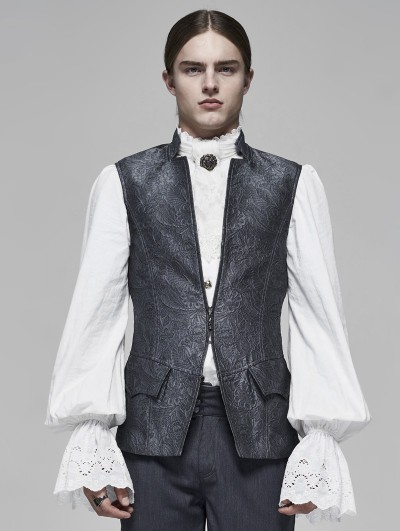 Punk Rave Grey Vintage Gothic Rococo Jacquard Vest for Men