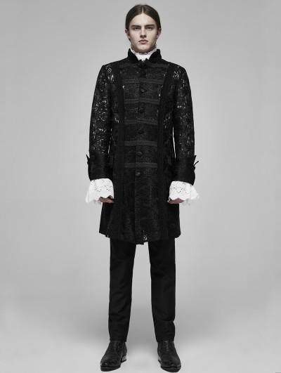 Punk Rave Black Vintage Gothic Palace Transparent Lace Jacquard Long Coat for Men