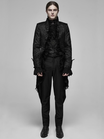 Punk Rave Black Retro Gothic Rococo Lace Tuxedo Coat for Men