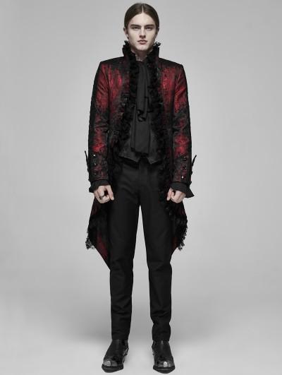 Punk Rave Red Retro Gothic Rococo Lace Tuxedo Coat for Men