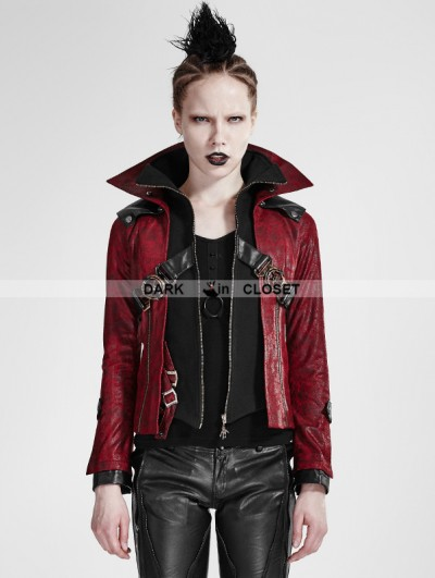 Punk Rave Black and Red Leather Vampire Style Gothic Jacket for Women