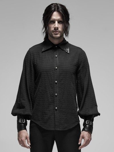 Punk Rave Black Steampunk Appliqued Long Sleeve Shirt for Men