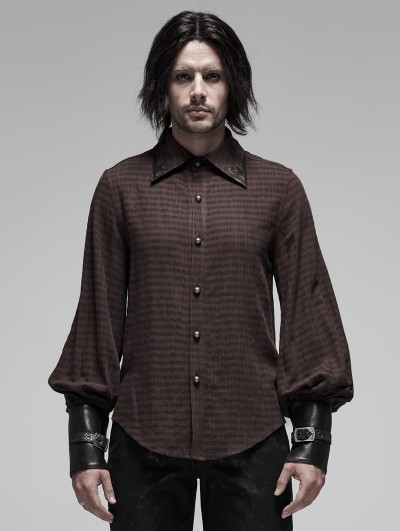 Punk Rave Brown Steampunk Appliqued Long Sleeve Shirt for Men