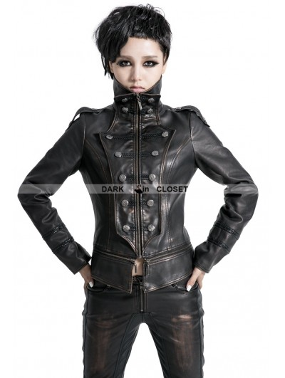 Punk Rave Black Leather Gothic Tuxedo Style Military Jacket for Women