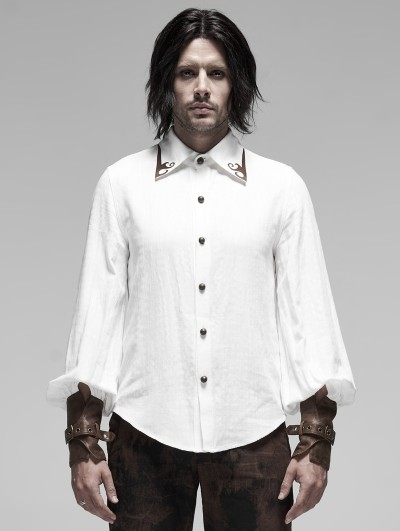 Punk Rave White Steampunk Appliqued Long Sleeve Shirt for Men