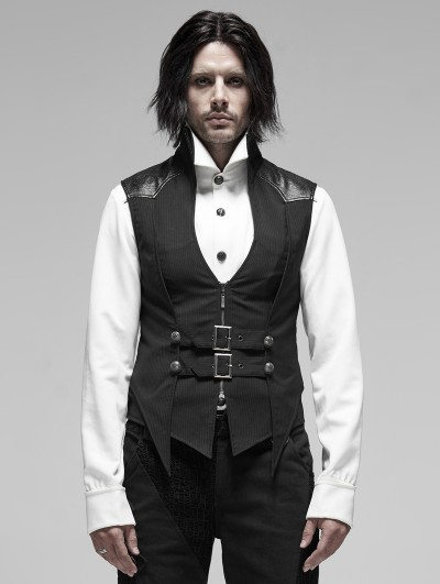 Punk Rave Black Stripe Gothic Punk Stand Collar False Two-Pieces Vest for Men