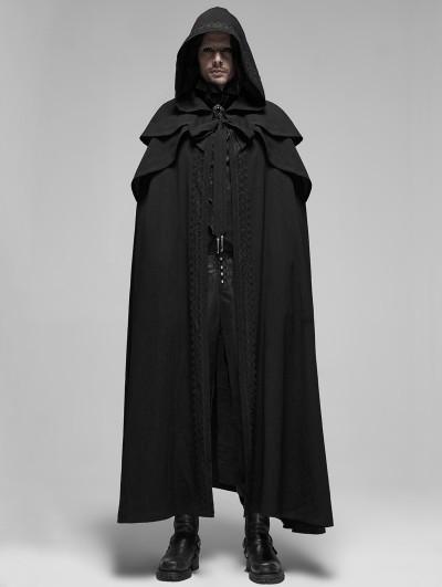 Punk Rave Black Retro Gothic Rococo Long Cloak for Men