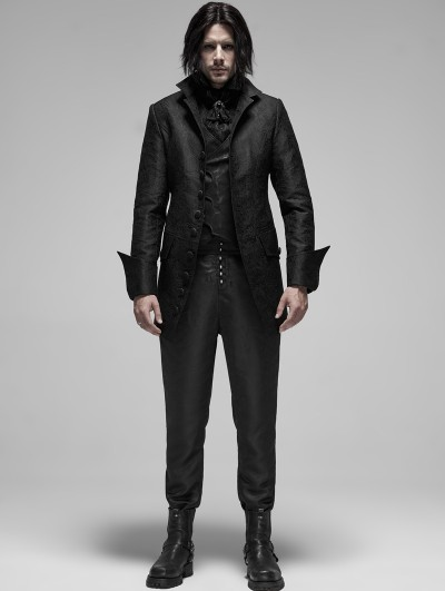 Punk Rave Black Vintage Gothic Rococo Jacquard Coat for Men