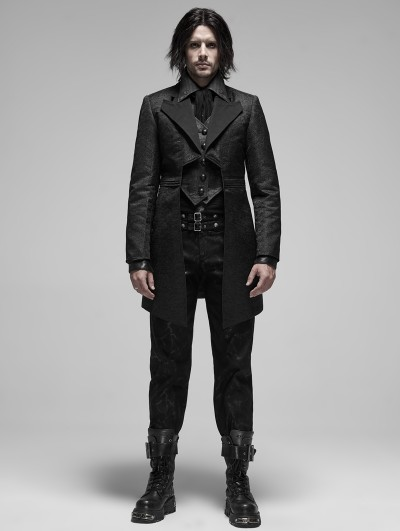 Punk Rave Black Retro Gothic Fake Two-Pieces Jacquard Tuxedo Coat for Men