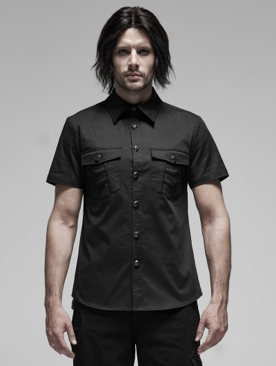 Punk Rave Black Gothic Punk Metal Short Sleeve Shirt for Men