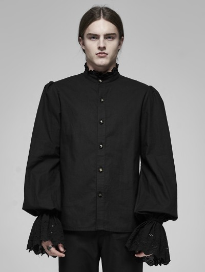 Punk Rave Black Vintage Gothic Palace Cotton Long Sleeve Shirt for Men