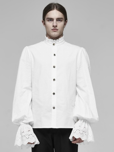 Punk Rave White Vintage Gothic Palace Cotton Long Sleeve Shirt for Men