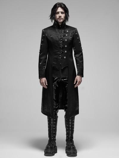 Punk Rave Black Gothic Punk Metal Long Trench Coat for Men