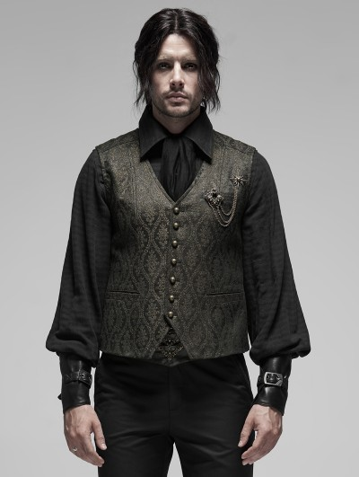 Punk Rave Gothic Retro Jacquard Vest for Men
