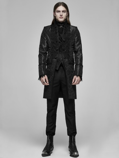 Punk Rave Black Vintage Gothic Palace Jacquard Long Tailcoat for Men