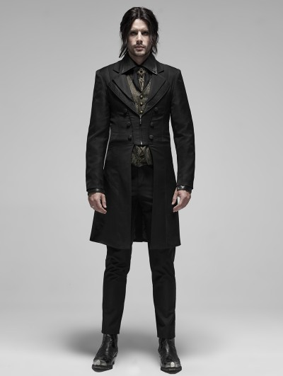 Punk Rave Black Gothic Gentleman Long Tuxedo Coat for Men