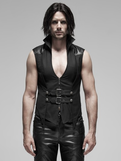 Punk Rave Black Gothic Punk Stand Collar False Two-Pieces Vest for Men