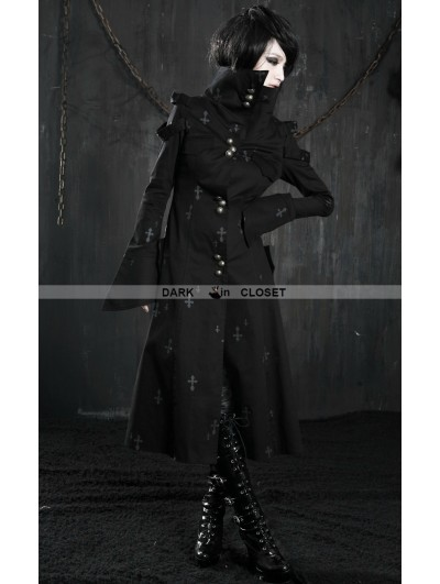Punk Rave Black Cross Pattern Long Gothic Trench Coat for Women