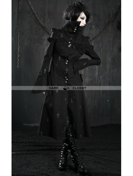 Punk Rave Black Cross Pattern Long Gothic Trench Coat For