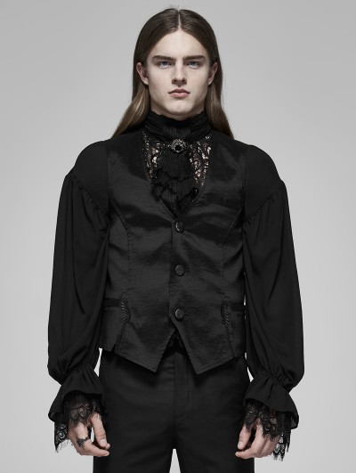 Punk Rave Black Vintage Gothic Palace Satin Vest for Men