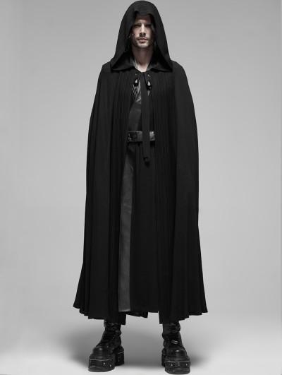 Punk Rave Black Gothic Cotton Long Hooded Cloak for Men