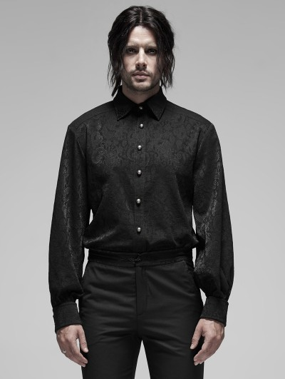 Punk Rave Black Retro Gothic Long Sleeve Jacquard Shirt for Men