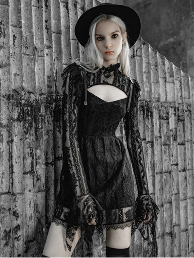 Punk Rave Black Street Fashion Gothic Lace Hollow-Out Long Sleeve Short Dress