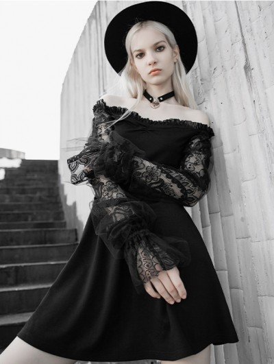 Punk Rave Black Street Fashion Gothic Off-the-Shoulder Lace Long Sleeve Short Dress