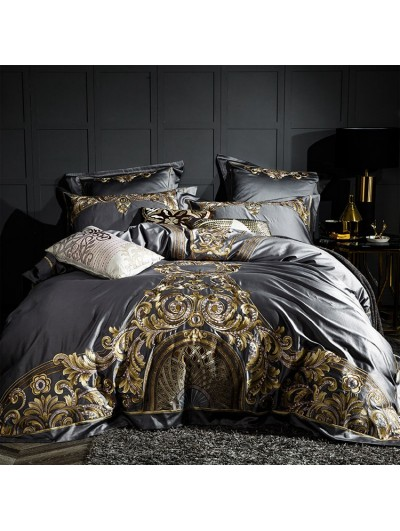 Sliver Luxurious Vintage Embroidery Comforter Set