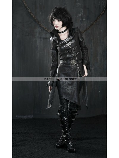 Punk Rave Black Leather Gothic Punk Trench Coat for Women
