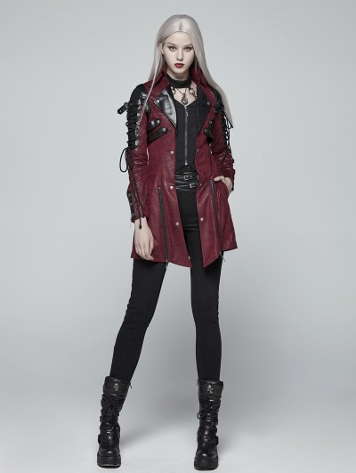 Punk Rave Red and Black Long Sleeves Leather Gothic Trench Coat for Women
