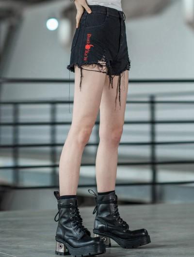 Punk Rave Black Street Fashion Gothic Punk Embroidery Shorts for Women