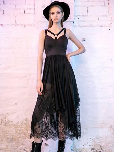 Punk Rave Black Street Fashion Gothic Lace Long Harness Style Dress