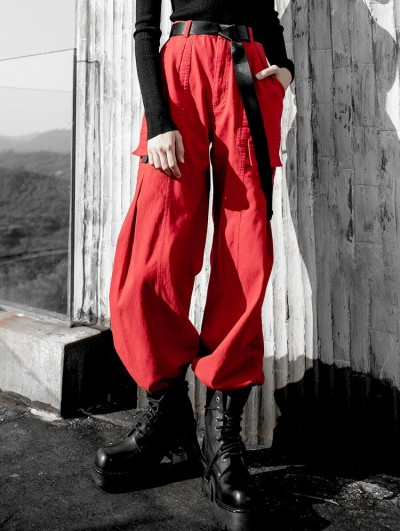 Punk Rave Red Street Fashion Gothic Punk Belt Overalls Pants for Women