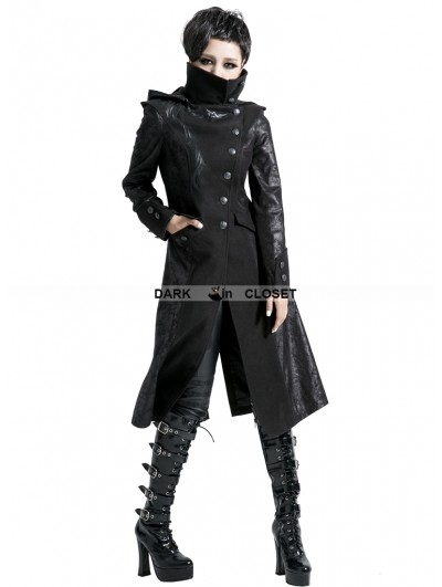 Punk Rave Black Alternative Gothic Long Hooded Coat for Women