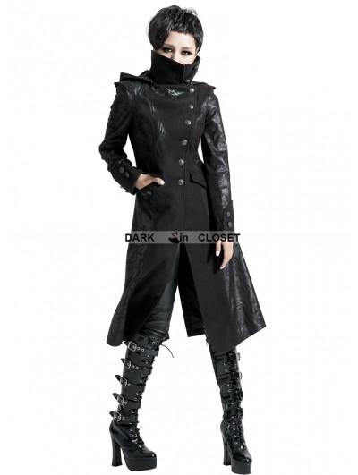 Punk Rave Black Alternative Gothic Long Hooded Coat for Women