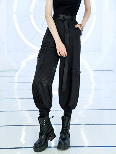 Punk Rave Black Street Fashion Gothic Punk Loose Flower Pattern Overalls Pants for Women