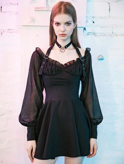Punk Rave Black Street Fashion Gothic Long Sleeve Halter Short Dress