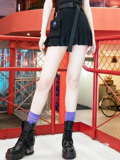 Punk Rave Black Street Fashion Gothic Punk Skirt with Detachable Pocket