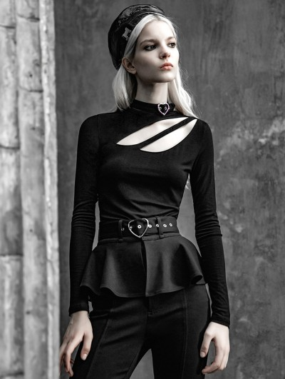 Punk Rave Black Street Fashion Gothic Hollow-out Long Sleeve T-Shirt for Women