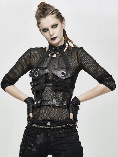 Devil Fashion Black Gothic Punk PU Leather Pocket Harness
